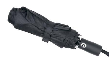 Black folding umbrella isolated on white background.