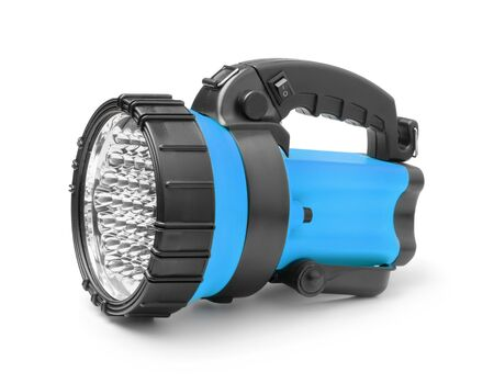 Plastic led flashlight isolated on white background. Reklamní fotografie