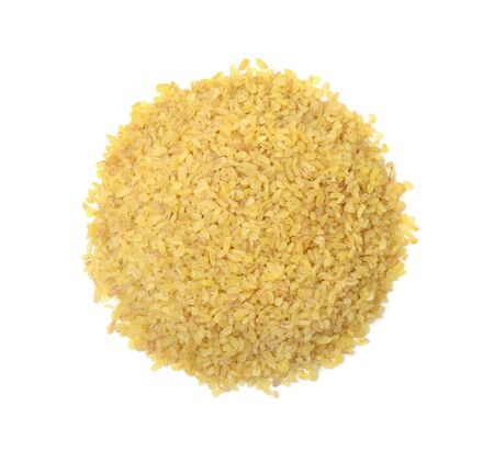 Heap of dry bulgur wheat isolated on white background. Top view.