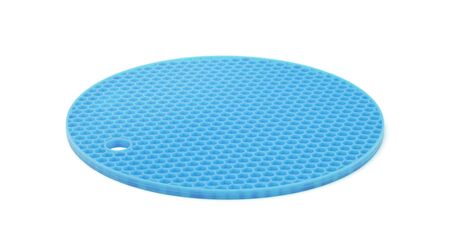 Blue silicone mat for the hot isolated on white