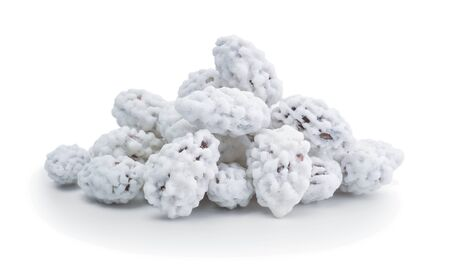 Pile of sugar roasted almonds isolated on a white.