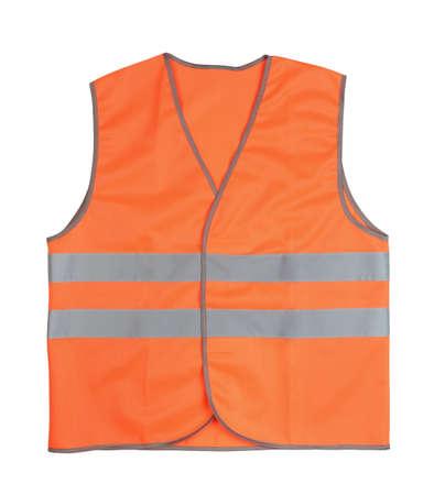 Orange vest isolated on white. Top view.