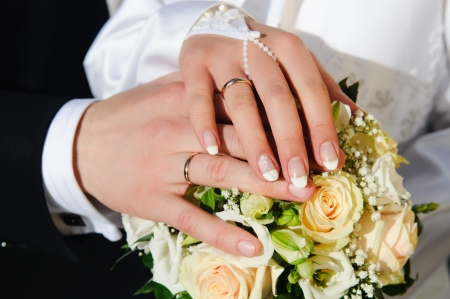 Bride & Groom, Hand married Stock Photo - 10795084