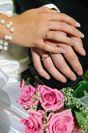 hands, marriage, couple, wedding, husband, wife, flower Stock Photo - 10795097