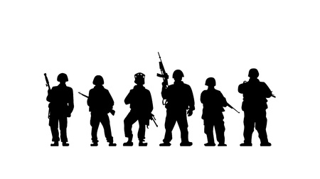 soldier with rifle: Soldiers silhouette with guns in vector
