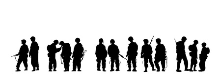 military uniform: Soldiers silhouette with guns in vector