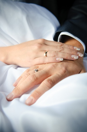 wedding band: Newlyweds holding hands, their weddingbands showing