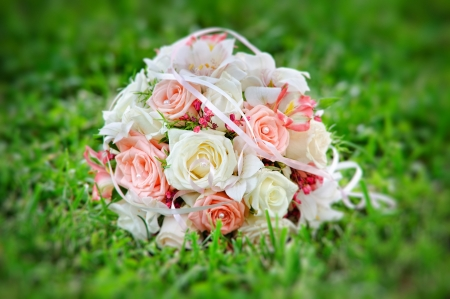 executed: executed from light pink and beige roses