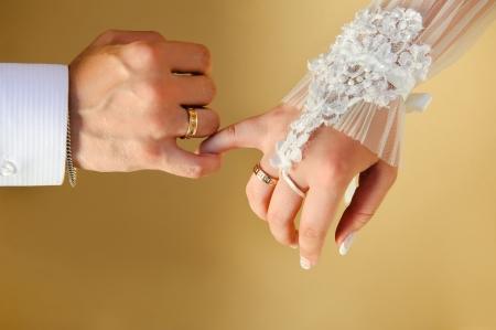 wedding ring hands: Wedding Hands Stock Photo