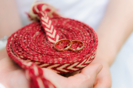 Wedding rings on a rope photo