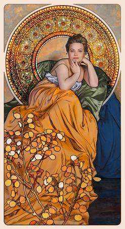 アール ヌーボー様式の花とフレームの女性