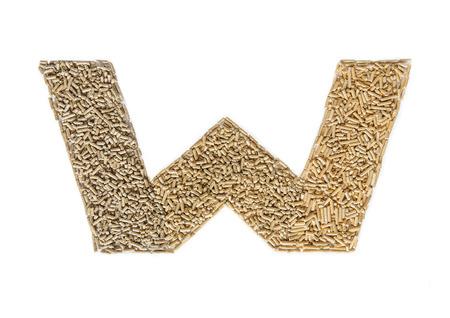 Alphabet made of wood pellets - letter W
