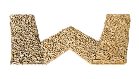 Alphabet made of wood pellets - letter W
