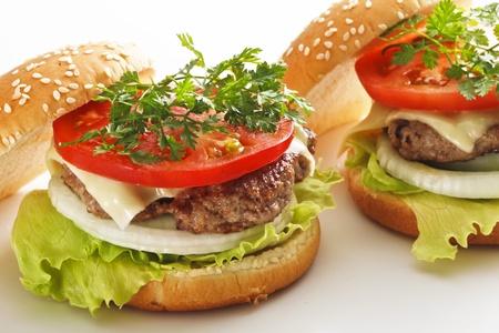 정크 푸드: 햄버거 스톡 사진