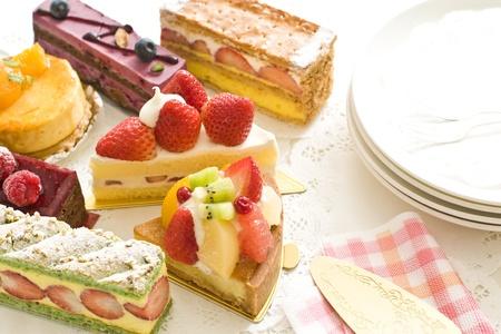 Many kinds of cake Stock Photo