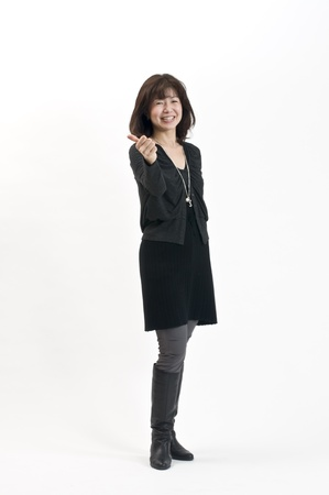 medium length: Japanese women autumn fashion Stock Photo