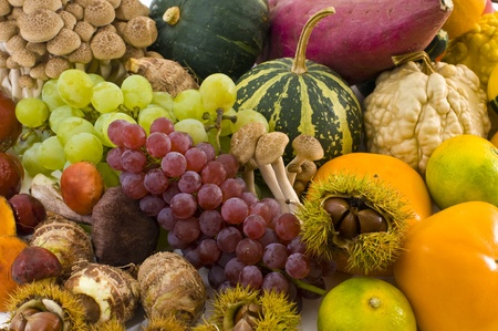 grapes and mushrooms: Taste of autumn,  Stock Photo