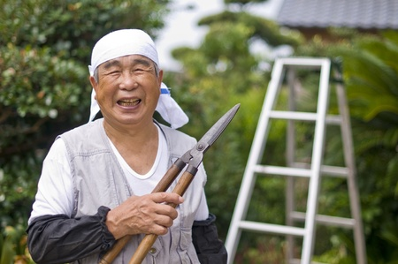 healthy old man of the Orient, energetic  Stock Photo