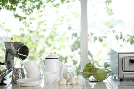 windowsill: Kitchen window Stock Photo