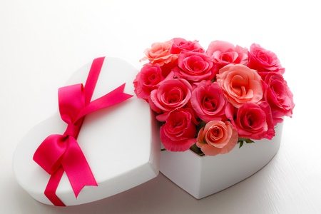 flower bouquet: Heart of roses Stock Photo