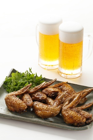 stein: Fried fried chicken wings Stock Photo