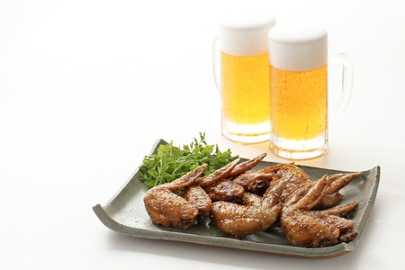 Fried fried chicken wings Stock Photo