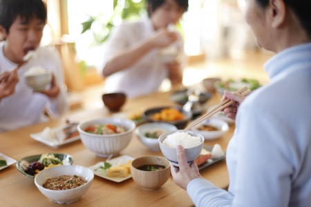 Japanese breakfast Family Stock Photo