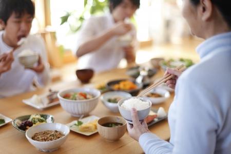japanese cooking: Japanese breakfast Family Stock Photo