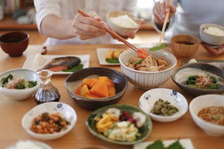 Japanese breakfast Family Stock Photo