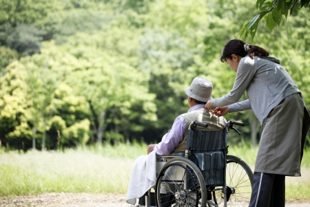 nursing care are for seniors: Senior in a wheelchair and helper
