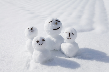 frosty the snowman: Snowman family Stock Photo
