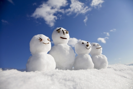 Snowman family Stock Photo