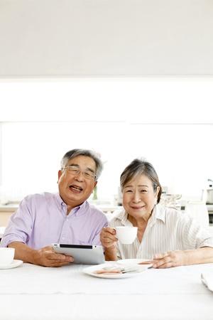 Senior tablet View Stock Photo