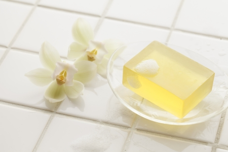 soap sud: Soap and bath products Stock Photo