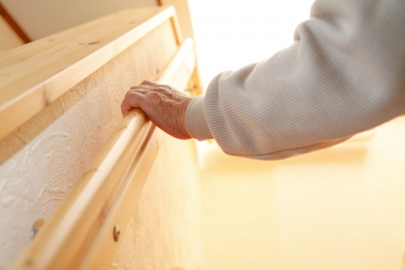 With a handrail