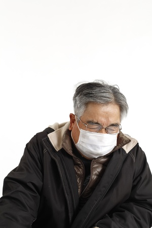 Old man was masked by disease Stock Photo - 18484912