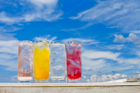 he is different: Summer sky and cold drinks Stock Photo