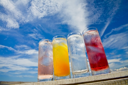 Summer sky and cold drinks Stock Photo