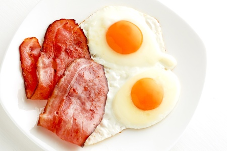 Fried egg and bacon photo