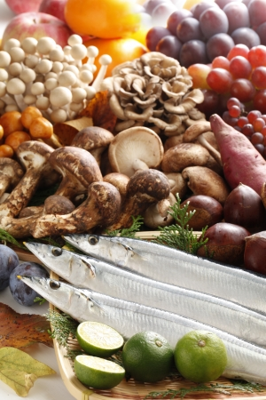 grapes and mushrooms: Ingredients of autumn Stock Photo
