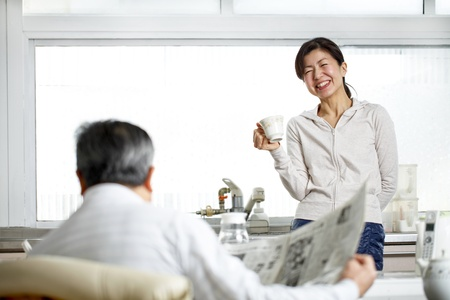 Japanese women to talk Stock Photo