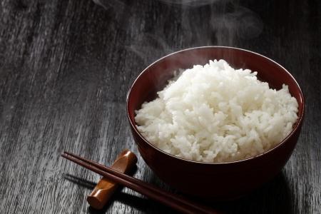 rice crop: Freshly cook rice Stock Photo