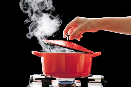 red hot iron: A boiling pot