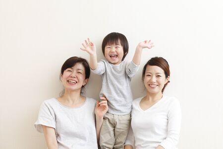 Japanese family  on white