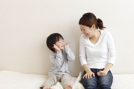 Japanese Mother and Child on white