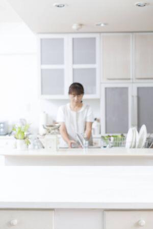 Niewyraźne tło kuchni
