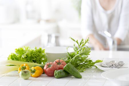 The kitchen counter vegetables Stockfoto