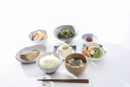 Healthy and Healthy with Japanese Breakfast, Vegetables and Fish