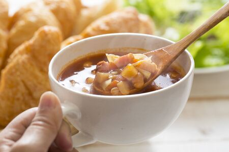 Minestrone soup meal