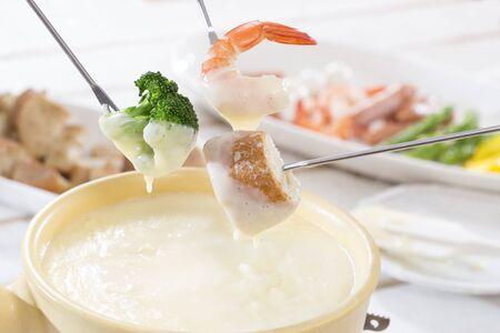 Cheese fondue, meal scenery